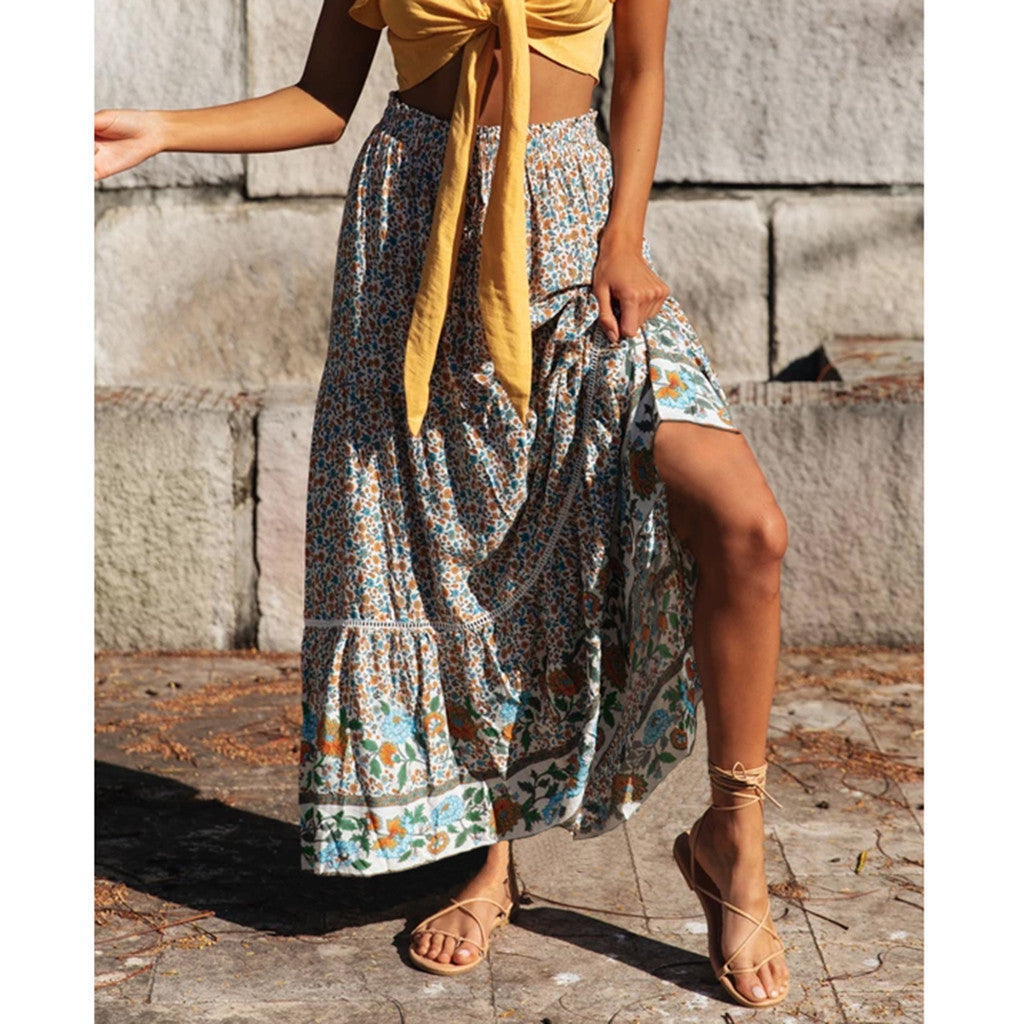 Mixed Floral Ruffle Maxi Skirt