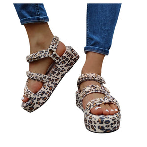 Leopard Print Open Toe Platforms