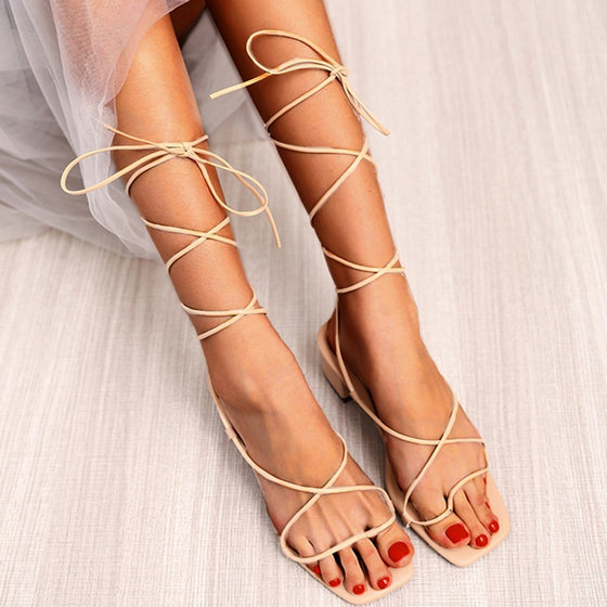 Lace-Up Square Toe Heels