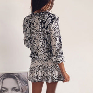 Snake Print Fit and Flare Mini Dress