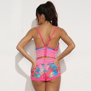 Pink Multi Stripe Floral Yoga Set