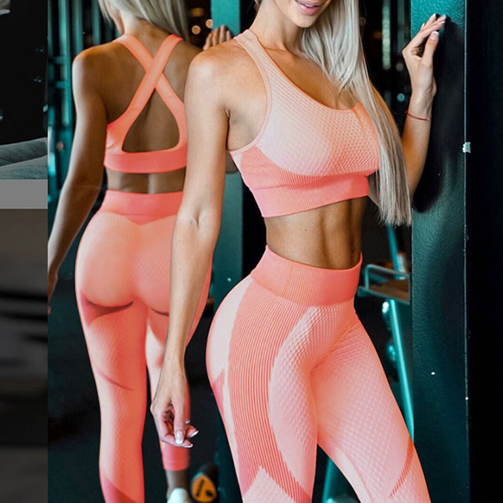 Orange Matching Sports Bra and Leggings Set