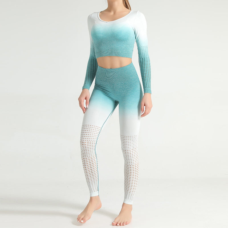 Laser Cut Out Long Sleeve Top and Leggings