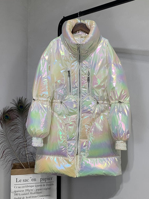 Shaggy Fur Collar Iridescent Puffer