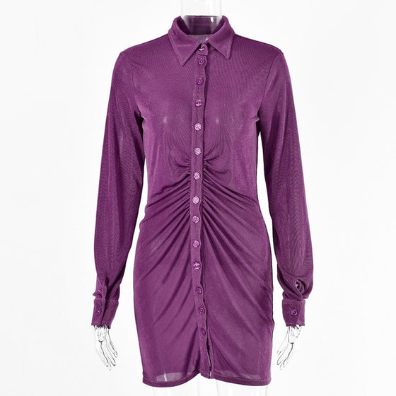 Long-Sleeve Ruched Shirt Dress