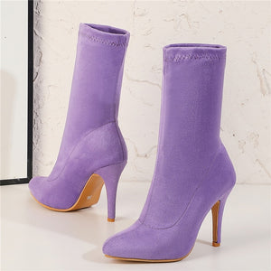 Thin Heel Suede Boots