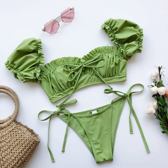 Puffy Sleeve Ruffled Bikini Set