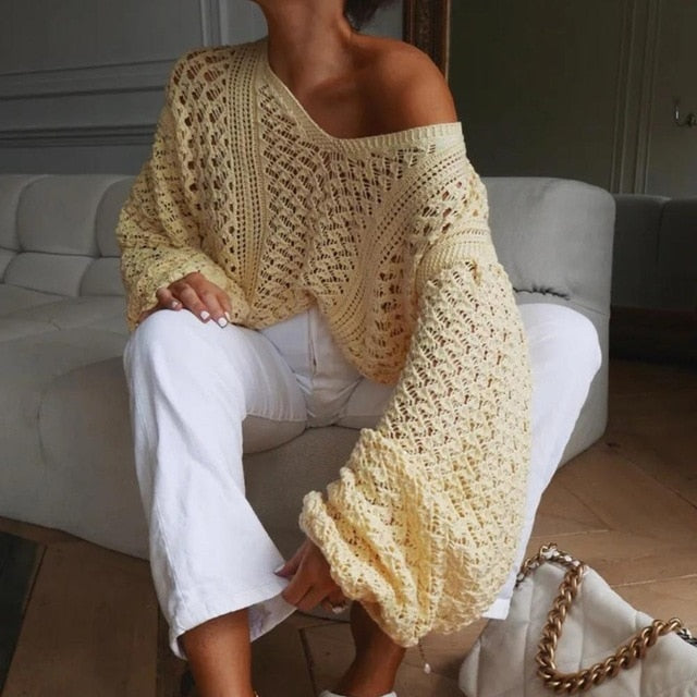 Lantern Sleeve Oversized Knitted Sweater