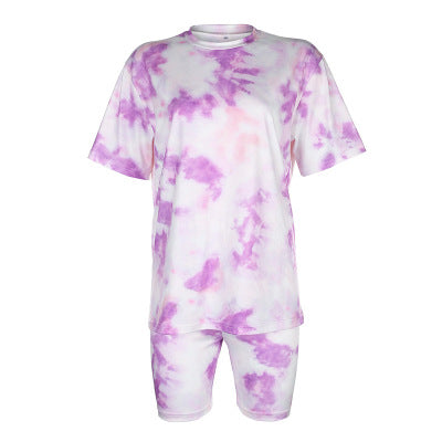 Tie Dye Oversized Tee and Biker Shorts Set