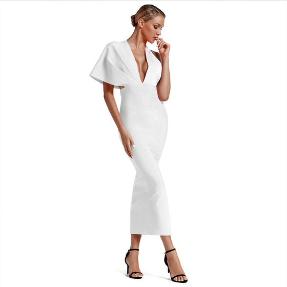 V-Neck Bandage Maxi Dress