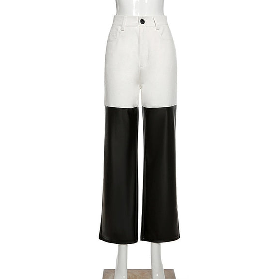 High Waist Mixed Media White and PU Pants