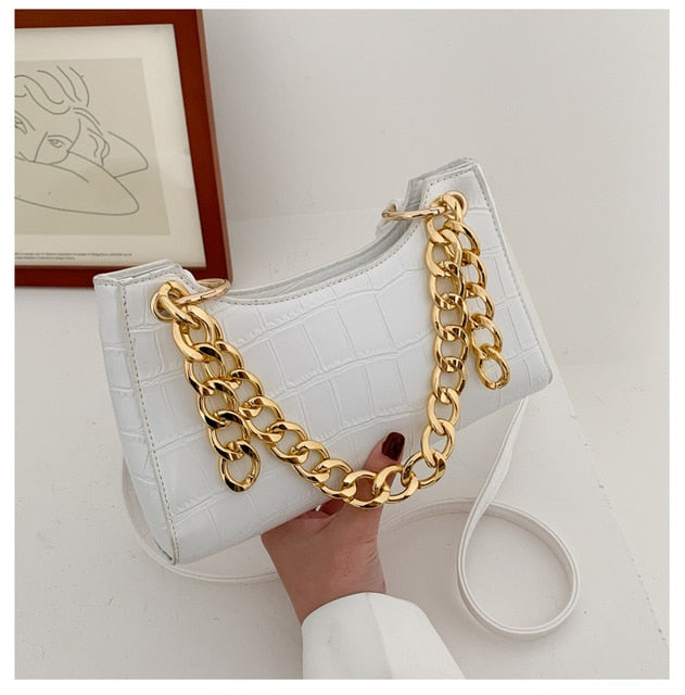 Crocodile and Chain Mini Shoulder Bag
