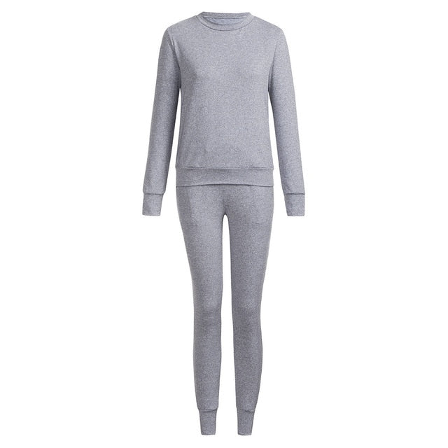 Long Sleeve Crew Neck Top and Sweats Set