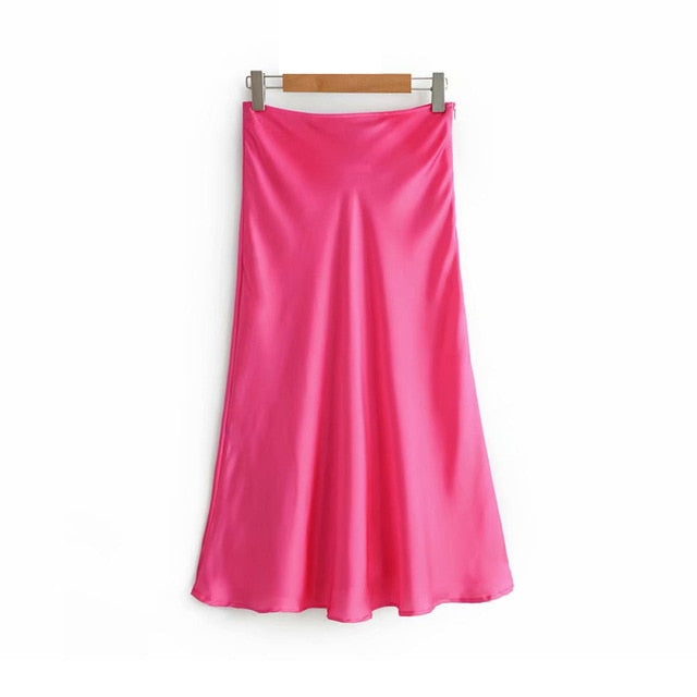 Plain Satin A-Line Midi Skirt