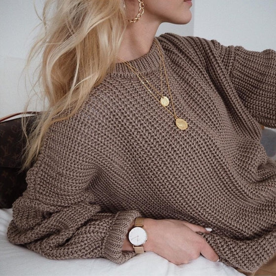 Knit Long Sleeve Pullover Sweater