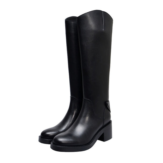 Cow Leather Platform Riding Boots