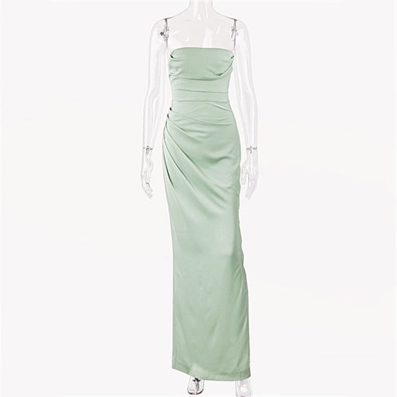 Strapless Corset Ruched Maxi Dress