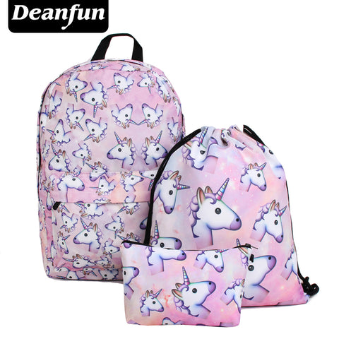 3PCS /set Women Printed Unicorn Backpack School Bags For Teenage Girls Shoulder Drawstring Bags