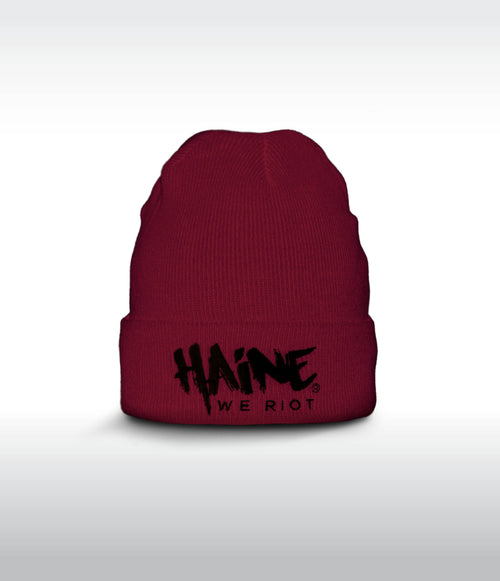 "SHORT BEANIE ""Haine We Riot"" BURGUNDY"