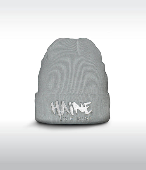 "SHORT BEANIE ""Haine We Riot"" GREY"