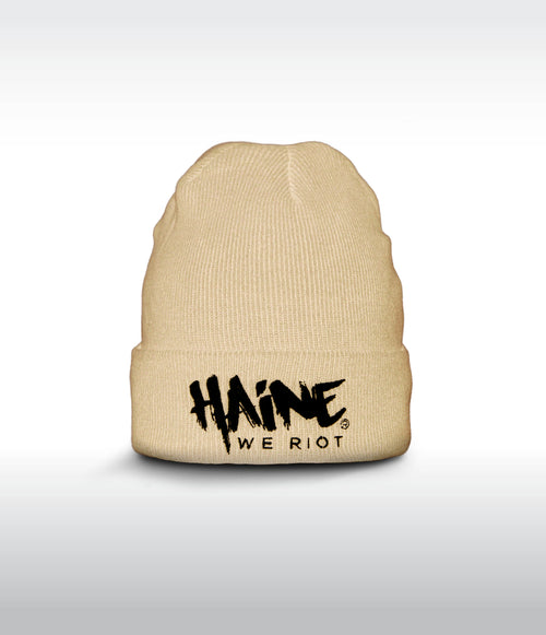 "SHORT BEANIE ""Haine We Riot"" BEIGE"