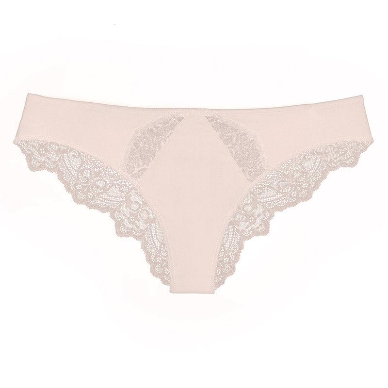 Liberté Crosby Scalloped Cheeky in blush pink featuring a sheer allover lace with scalloped edges.