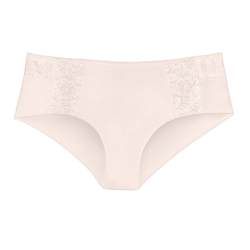 Liberté Mid Rise Hipster in blush pink featuringCrosby performance micro jersey and lace insets.