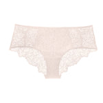 Liberté Bowery Scalloped Hipster, with a semi sheer lace front and sheer mesh sides in blush pink.
