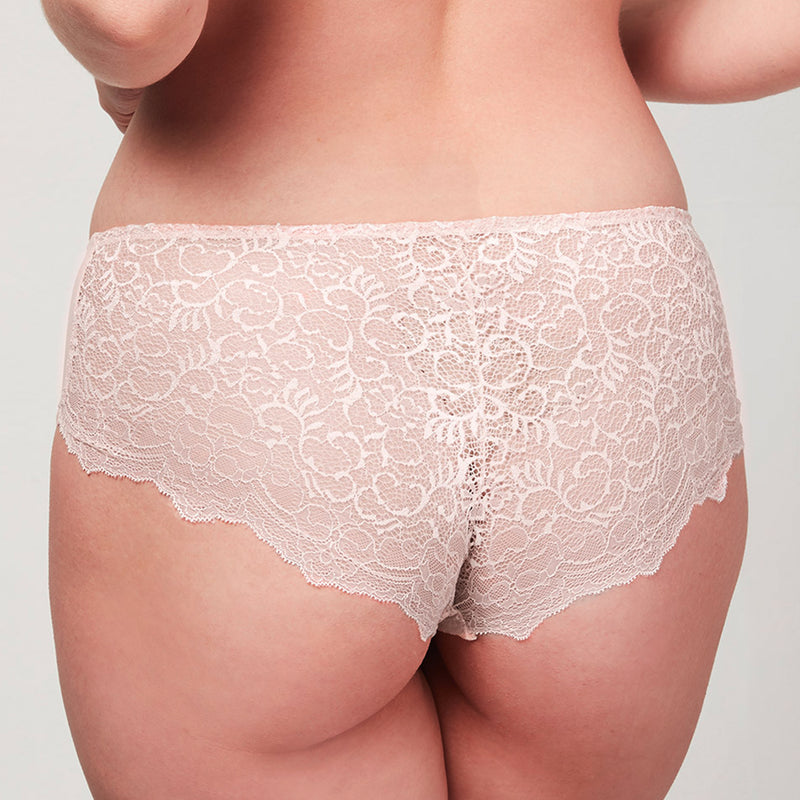 Back view of curve model wearing a Liberté Bowery Scalloped Hipster featuring a sheer allover lace with scalloped edges.