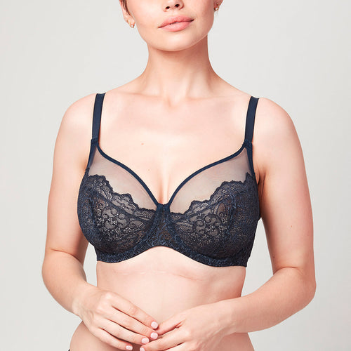 Model wearing Midnight blue Liberté Bowery Mesh Plunge bra featuring a 3 piece cup with sheer mesh at the neck line.