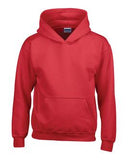 RED GILDAN® HEAVY BLEND™ HOODED YOUTH SWEATSHIRT. 185B
