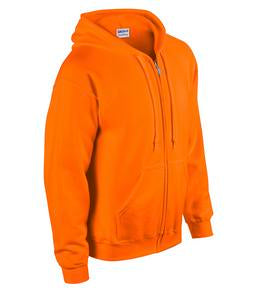 SAFETY ORANGE GILDAN® HEAVY BLEND™ FULL ZIP HOODED SWEATSHIRT. 1860