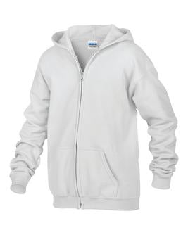 WHITE GILDAN® HEAVY BLEND™ FULL ZIP HOODED YOUTH SWEATSHIRT. 186B