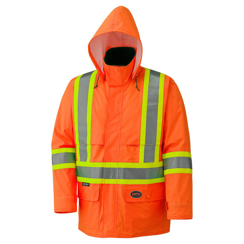Hi-Viz 150D Lightweight Waterproof Safety Jacket with Detachable Hood 5594