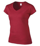 CHERRY RED GILDAN® SOFTSTYLE® JUNIOR FIT V-NECK LADIES' T-SHIRT. 64V00L