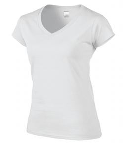WHITE GILDAN® SOFTSTYLE® JUNIOR FIT V-NECK LADIES' T-SHIRT. 64V00L