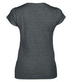 DARK HEATHER GILDAN® SOFTSTYLE® JUNIOR FIT V-NECK LADIES' T-SHIRT. 64V00L