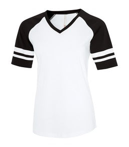 WHITE / BLACK ATC EUROSPUN® RING SPUN BASEBALL LADIES' TEE. ATC0822L