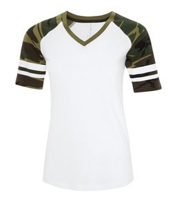 WHITE / CAMO ATC EUROSPUN® RING SPUN BASEBALL LADIES' TEE. ATC0822L