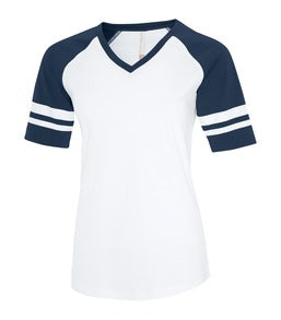 WHITE / TRUE NAVY ATC EUROSPUN® RING SPUN BASEBALL LADIES' TEE. ATC0822L