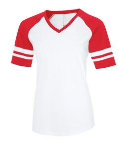 WHITE / TRUE RED ATC EUROSPUN® RING SPUN BASEBALL LADIES' TEE. ATC0822L
