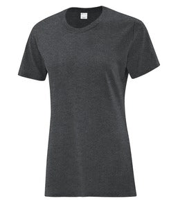 DARK HEATHER GREY ATC EVERYDAY COTTON LADIES' TEE. ATC1000L