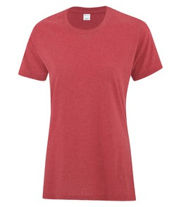 HEATHER RED ATC EVERYDAY COTTON LADIES' TEE. ATC1000L