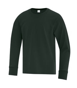 DARK GREEN ATC EVERYDAY COTTON LONG SLEEVE YOUTH TEE. ATC1015Y