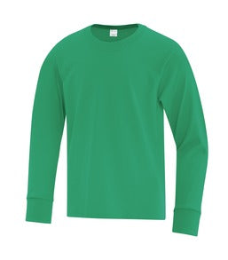 KELLY GREEN ATC EVERYDAY COTTON LONG SLEEVE YOUTH TEE. ATC1015Y