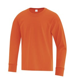 ORANGE ATC EVERYDAY COTTON LONG SLEEVE YOUTH TEE. ATC1015Y