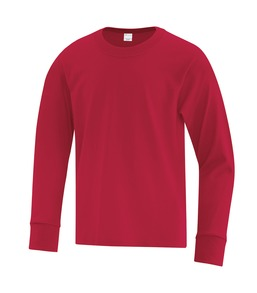 RED ATC EVERYDAY COTTON LONG SLEEVE YOUTH TEE. ATC1015Y