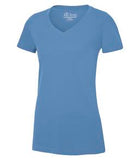 CAROLINA BLUE ATC EUROSPUN® RING SPUN V-NECK LADIES' TEE. ATC8001L