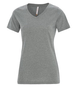 DEEP HEATHER ATC EUROSPUN® RING SPUN V-NECK LADIES' TEE. ATC8001L