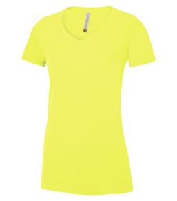 EXTREME YELLOW ATC EUROSPUN® RING SPUN V-NECK LADIES' TEE. ATC8001L